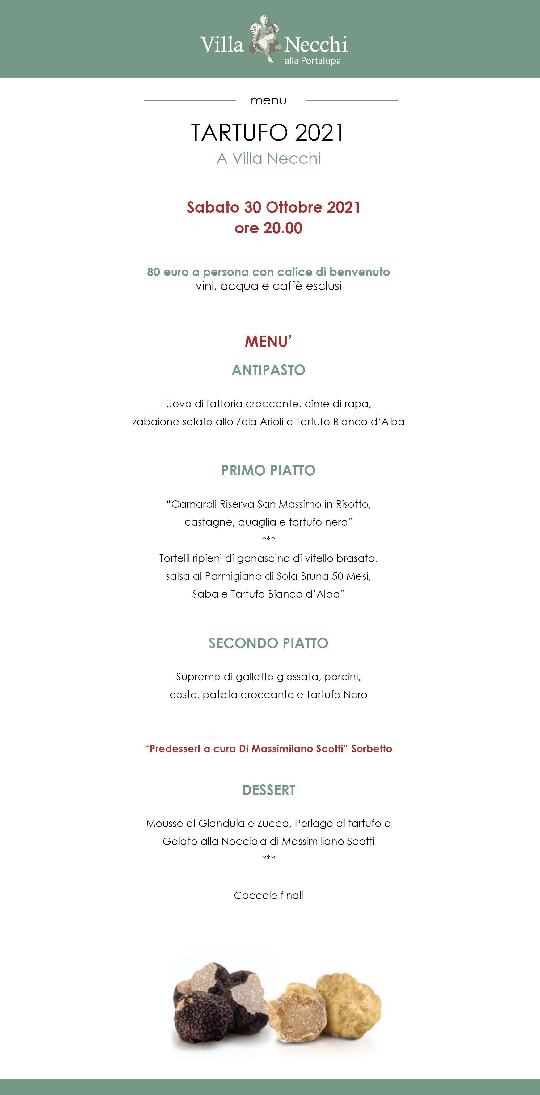 menu tartufo 2021